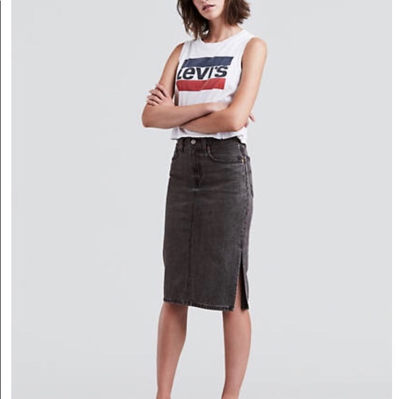 Levi s side slit denim skirt 0419bccd7